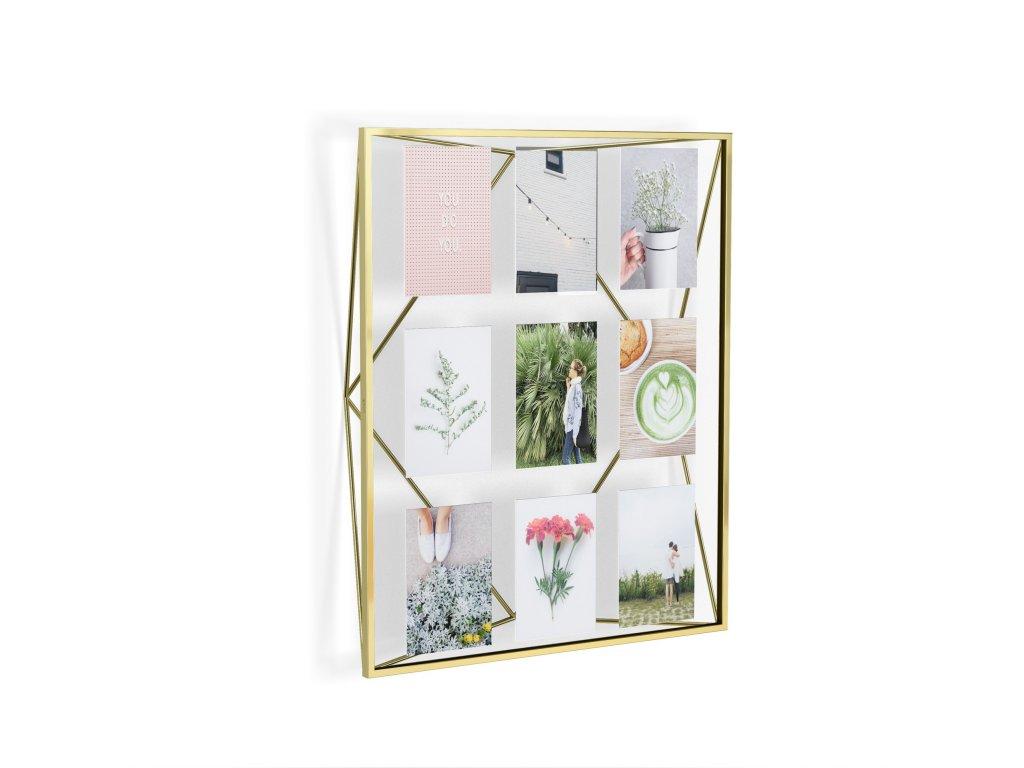 Geometrický fotorámeček na 9 fotek Umbra Prisma Gallery | mosazný