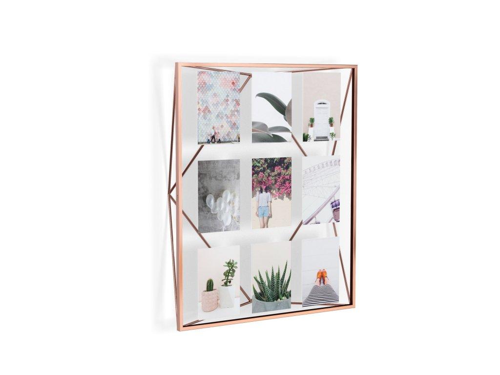 Geometrický fotorámeček na 9 fotek Umbra Prisma Gallery | měděné