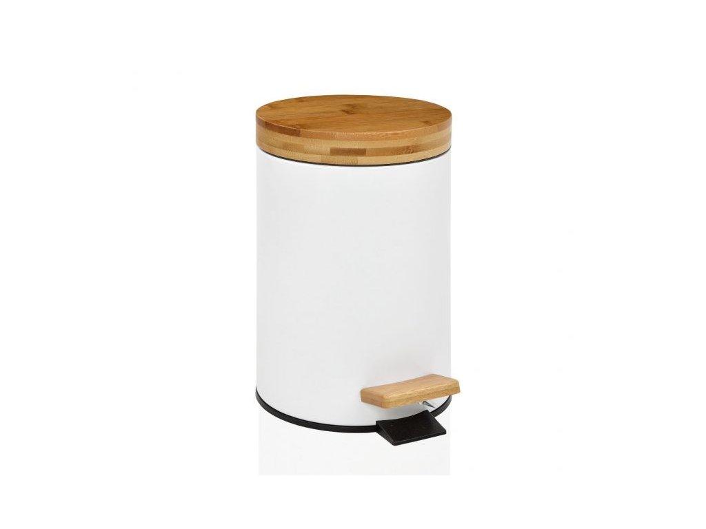 Toaletní koš s dřevěným víkem Andrea House | Bílý, přírodní