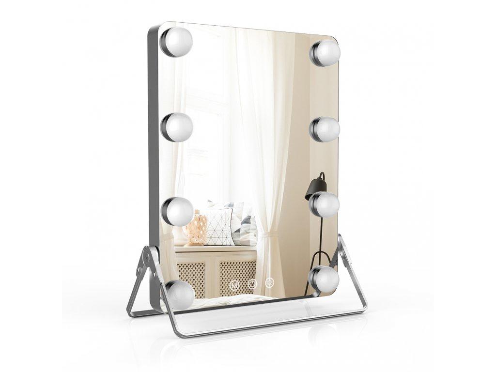 Hollywoodské make-up zrcadlo s osvětlením MMIRO 23 x 30 cm   stříbrná