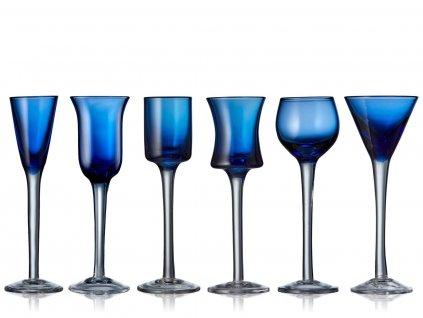 Sklenice na panáka Lyngby Glas Aquavit Blue 50 ml 6ks