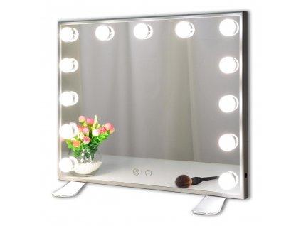 Hollywoodské make-up zrcadlo s osvětlením bez rámu MMIRO L613, 50 x 42 cm | stříbrná