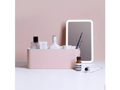 Organizér na kosmetiku s kosmetickým zrcadlem MMIRO Mirror Make-up Box BL01 | růžová
