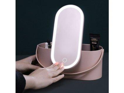 Organizér na kosmetiku s kosmetickým zrcadlem MMIRO Make-up Box BL02   růžová