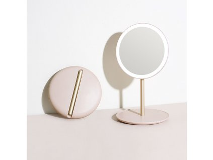 Cestovní kosmetické zrcadlo s osvětlením MMIRO Travel Make-up Mirror M02 | růžová