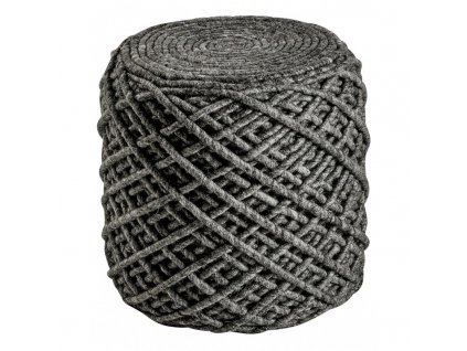 Vlněný designový puf Royal Obsession 40x40 cm | tmavě šedý