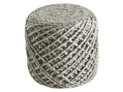 Vlněný designový puf Royal Obsession 40x40 cm | béžový
