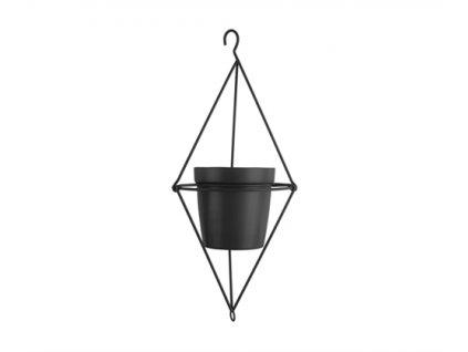 Závěsný květináč Present Time Diamond | černá