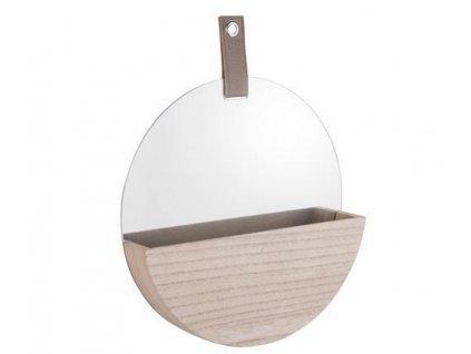 Nástěnné kulaté zrcadlo Present Time Basic s úložným prostorem | přírodní