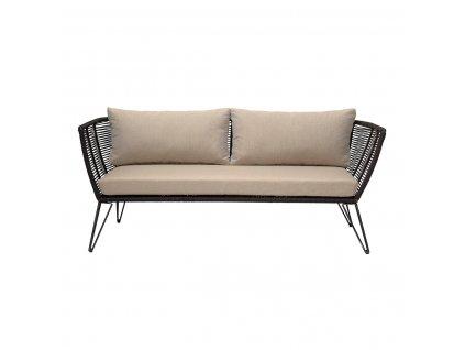 Dvoumístná sofa Mundo Bloomingville černá s béžovými polštáři| černá