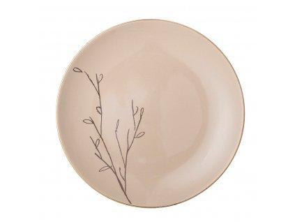 Talíř Bloomingville Rio s dekorem P.22 cm hnědý  hnědá