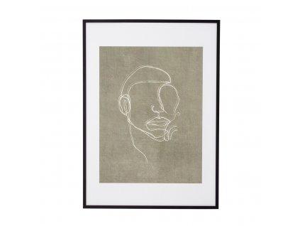Obraz v černém dřevěném rámu Bloomingville Hake 52x72cm| černá