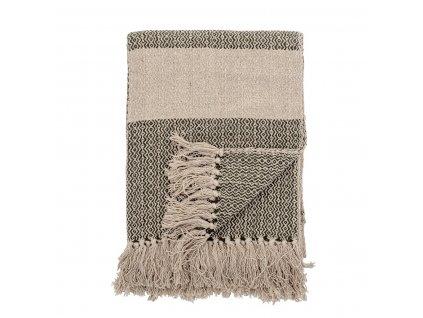 Pléd Bloomingville FIDA z recyklované bavlny 160x130 cm  zelená,béžová