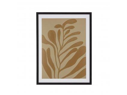 Obraz v rámu Bloomingville Vigy hnědý / černý42x32 cm| hnědá