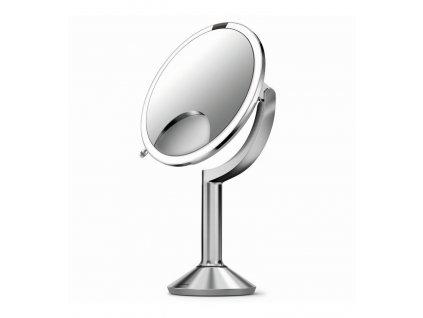 Stolní kosmetické zrcadlo s LED osvětlením a dotykovým ovládáním Simplehuman Sensor TRIO, 20 cm | nerezová