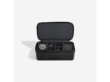 Pánská cestovní šperkovnice Stackers Black Large Travel Watch and Cufflink Box | černá
