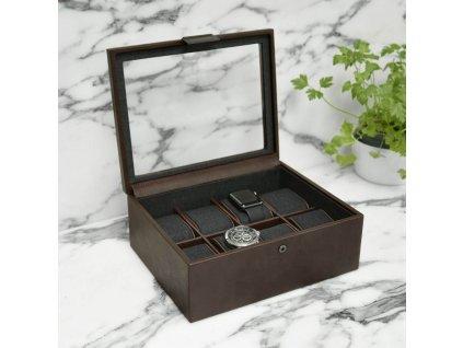 Kazeta na hodinky Stackers Brown 8 Piece Watch Box | hnědá