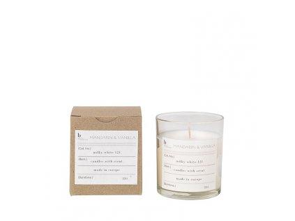 Vonná čajová svíčka Broste Mandarin & Vanilla | bílá
