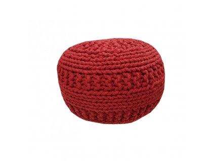 Pletěný designový puf Tea 9 40x40 cm | červený