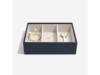 Box na šperky Stackers Navy Croc Deep Watch/Accessories | tmavě modrá