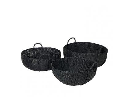Sada 3 košíků Broste Astrid Sea Grass | černá