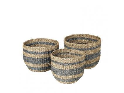 Sada 3 košíků Broste Aggie Sea Grass   šedé pruhy