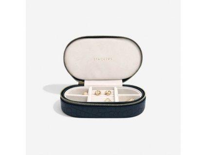 Cestovní šperkovnice Stackers Navy Croc Oval Travel Box | tmavě modrá