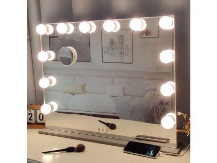 Hollywoodské make-up zrcadlo s osvětlením MMIRO bez rámu 72 x 56 cm | stříbrná