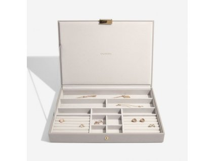 Box na šperky s víkem Stackers Taupe Supersize Lid   šedobéžová