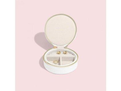 Cestovní šperkovnice Stackers Chalk White Croc Round Travel Box | bílá