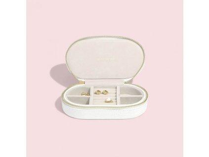 Cestovní šperkovnice Stackers White Croc Oval Travel Box | bílá