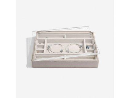 Box na šperky s průhledným víkem Stackers Taupe Classic 2 Charm Bracelet Layer & Display Lid | šedobéžová