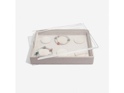 Box na šperky s průhledným víkem Stackers Taupe Classic 6 Charm Bracelet | šedobéžová