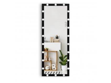 Stojací hollywoodské make-up zrcadlo s osvětlením MMIRO F2B 160 x 60 cm | černá