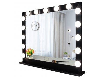 Hollywoodské make-up zrcadlo s osvětlením MMIRO 70 x 55 cm   černá