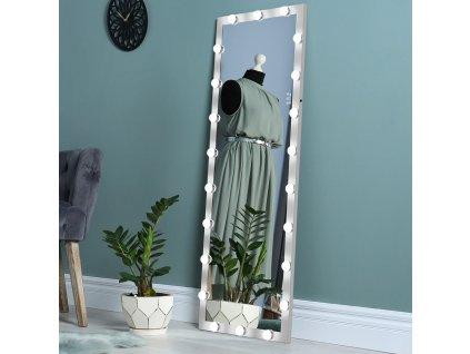 Stojací hollywoodské make-up zrcadlo s osvětlením MMIRO F2S 160 x 60 cm | stříbrná