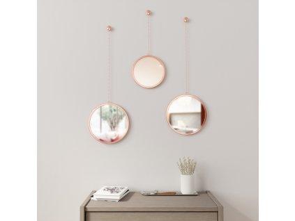 Sada kulatých zrcadel Umbra Dima 3 ks | měděná