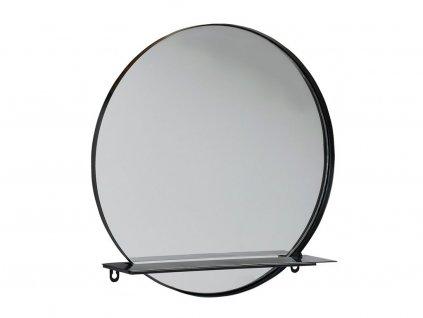 Nástěnné kulaté zrcadlo s policí Villa Collection Black 40 cm | Černá