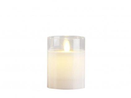 LED svíčka Villa Collection s časovačem a s blikajícím plamýnkem 10 cm | bílá
