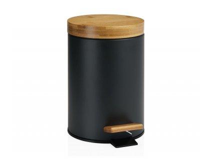 Pedálový odpadkový koš Andrea House Pedal Bin Bamboo BA69080 | černý