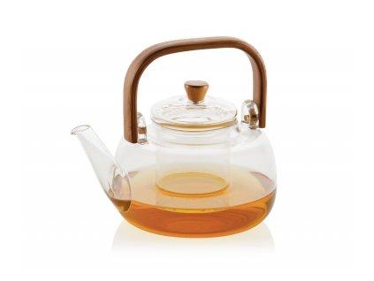 Konvice na čaj s filtrem a bambusovou rukojetí Andrea House 1L | Průhledný