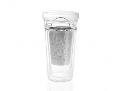 Skleněný hrnek na čaj Andrea House s víkem a filtrem | průhledný