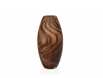 Ručně vyráběná dřevěná váza Andrea House AX19100 | Hnědý