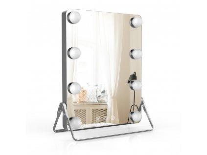 Hollywoodské make-up zrcadlo s osvětlením MMIRO 23 x 30 cm | stříbrná