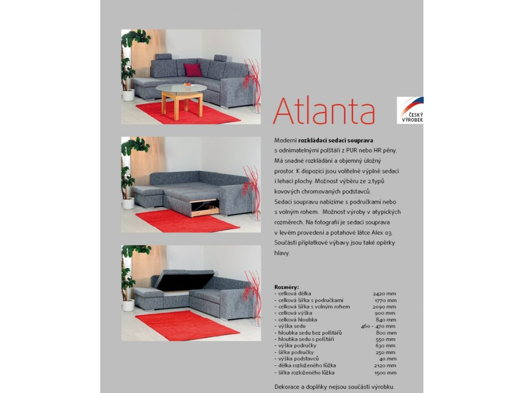 d2ce35817711 ATLANTA UP čalouněná rohová sedací souprava s úložným prostorem ...