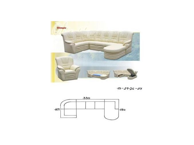 sedací souprava OLIMPIC 169x330x180 (CREDO skupina látek 2 ANTARA PLUS 1011 RED)