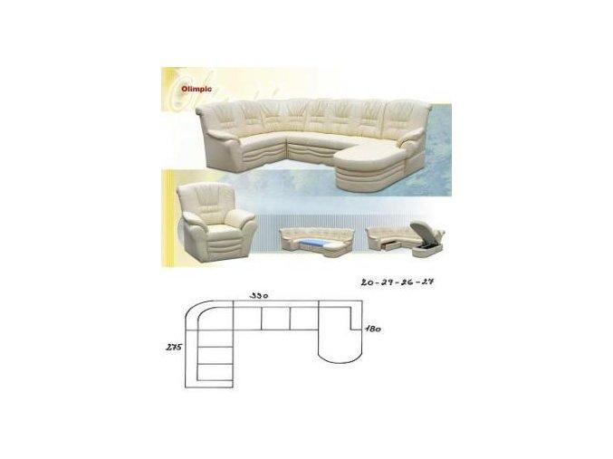 sedací souprava OLIMPIC 275x330x180 (CREDO skupina látek 2 ANTARA PLUS 1011 RED)