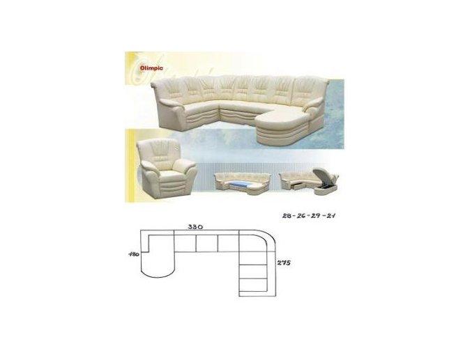 sedací souprava OLIMPIC 180x330x275 (CREDO skupina látek 2 ANTARA PLUS 1011 RED)