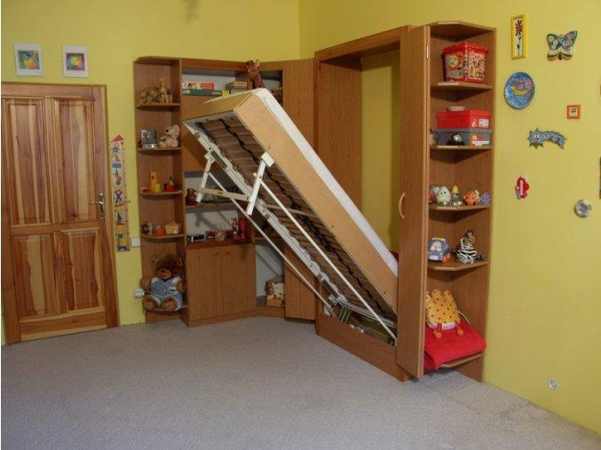 Sklápěcí postel ve skříni - jednolůžko s roštem SKL1VKP š.90cm (KZK Borovice 1770)