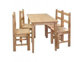Stůl + 4 židle CORONA 2 borovice vosk 161611